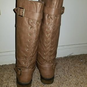 Justice girls size 4 brown zip up  boots